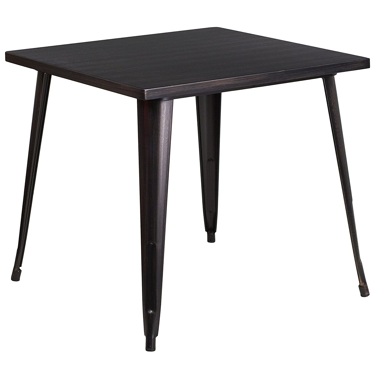 Flash Furniture 31.75 Square Black-Antique Gold Metal Indoor-Outdoor Table