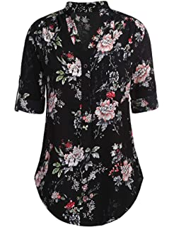 0e47918dac704 Hersife Womens Casual Floral Blouse V Neck Chiffon Shirt 3 4 Sleeve Tops