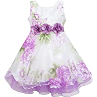 Sunny Fashion Girls Dress Tulle Bridal Lace with Flower Detailing Wedding Size 4-14 Years