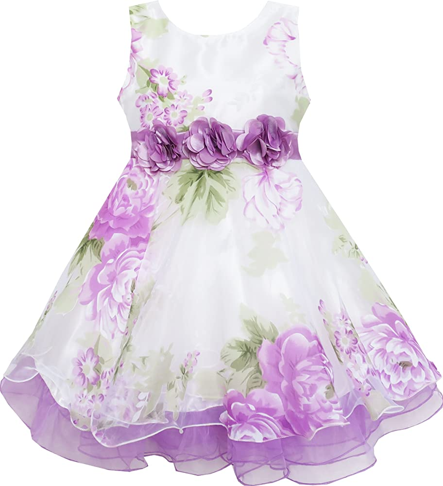 Girls Dress Tulle Bridal Lace With Flower Detailing Purple Size 4-14 Party