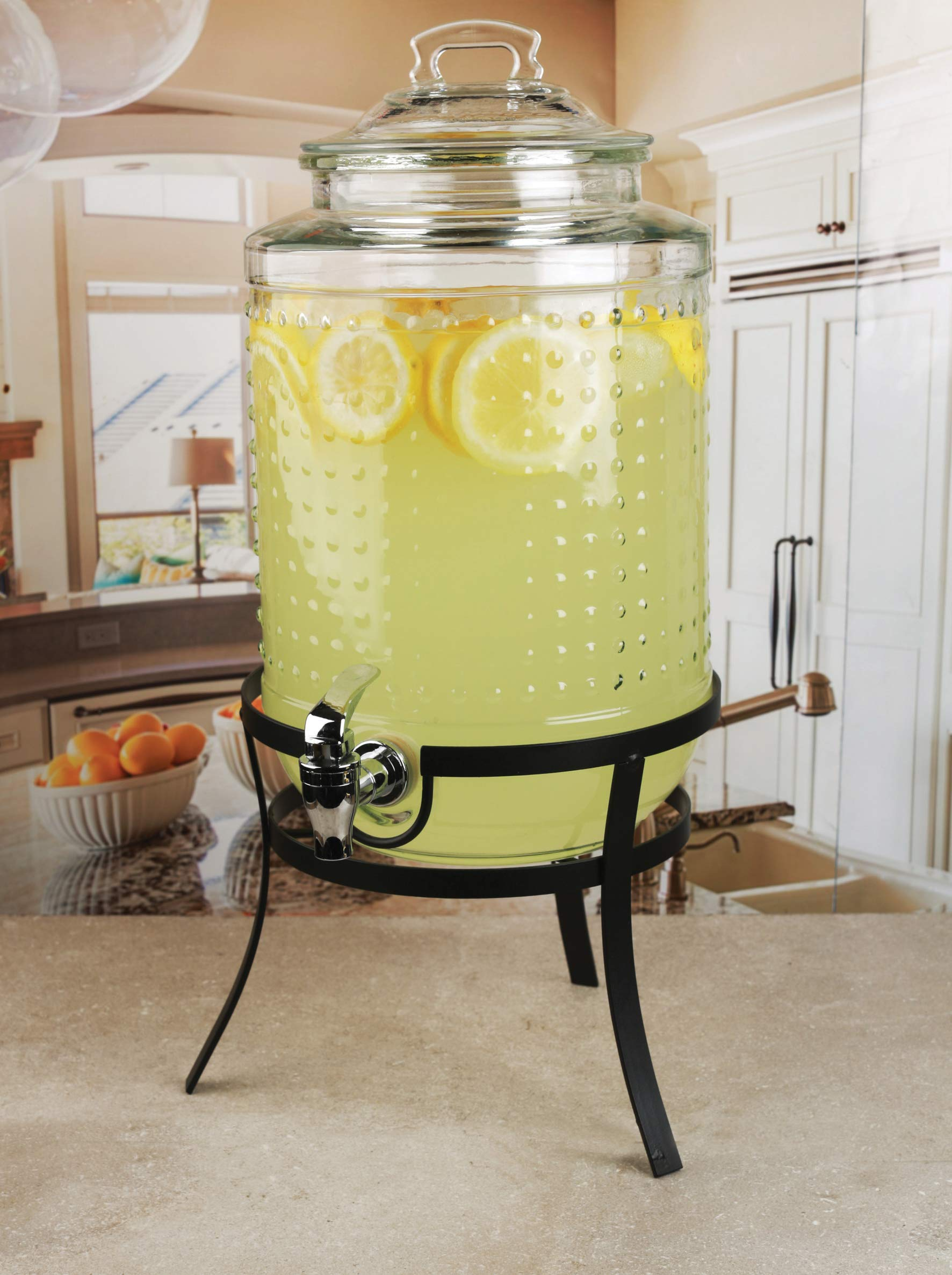Circleware 69184 Vintage Dots Beverage Dispenser with Metal Stand, Glass Lid & Handle, Fun Party Home Entertainment Glassware Water Pitcher for Juice Drinks, Cold Beer, 1.9 Gallon, Hobnail by Circleware
