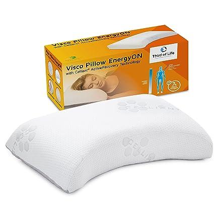 Almohada de Espuma Viscoelástica EnergyON con Funda con Tecnología Celliant | Almohada Cervical Ergonómica y Ortopédica
