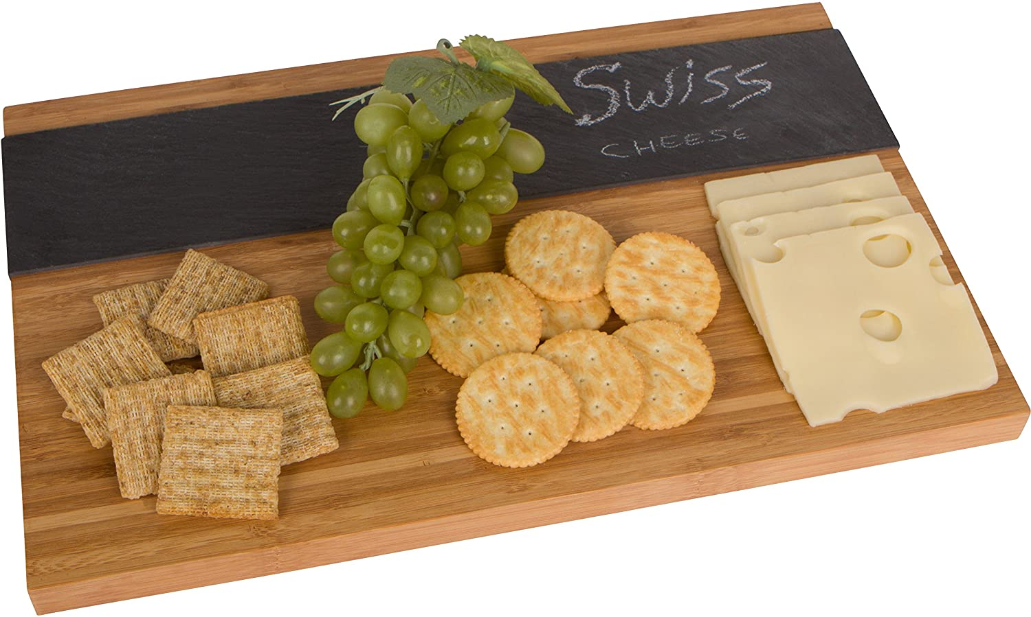"""16"""" Bamboo and Slate Cheeseboard Serving Tray with Soapstone Chalk by Trademark Innovations"""