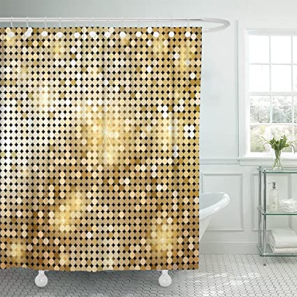 Breezat Shower Curtain Yellow Gold Golden Shiny Mosaic In Disco Ball Style Abstract Graphic Waterproof Polyester