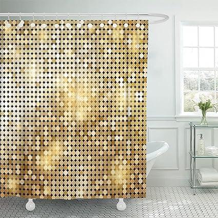 Amazon Emvency Shower Curtain Yellow Gold Golden Shiny Mosaic