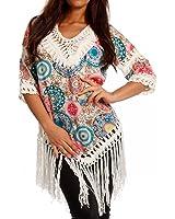 Damen Hippie Tunika Shirt Lochmuster Fransen Bedruckt Tunikashirt