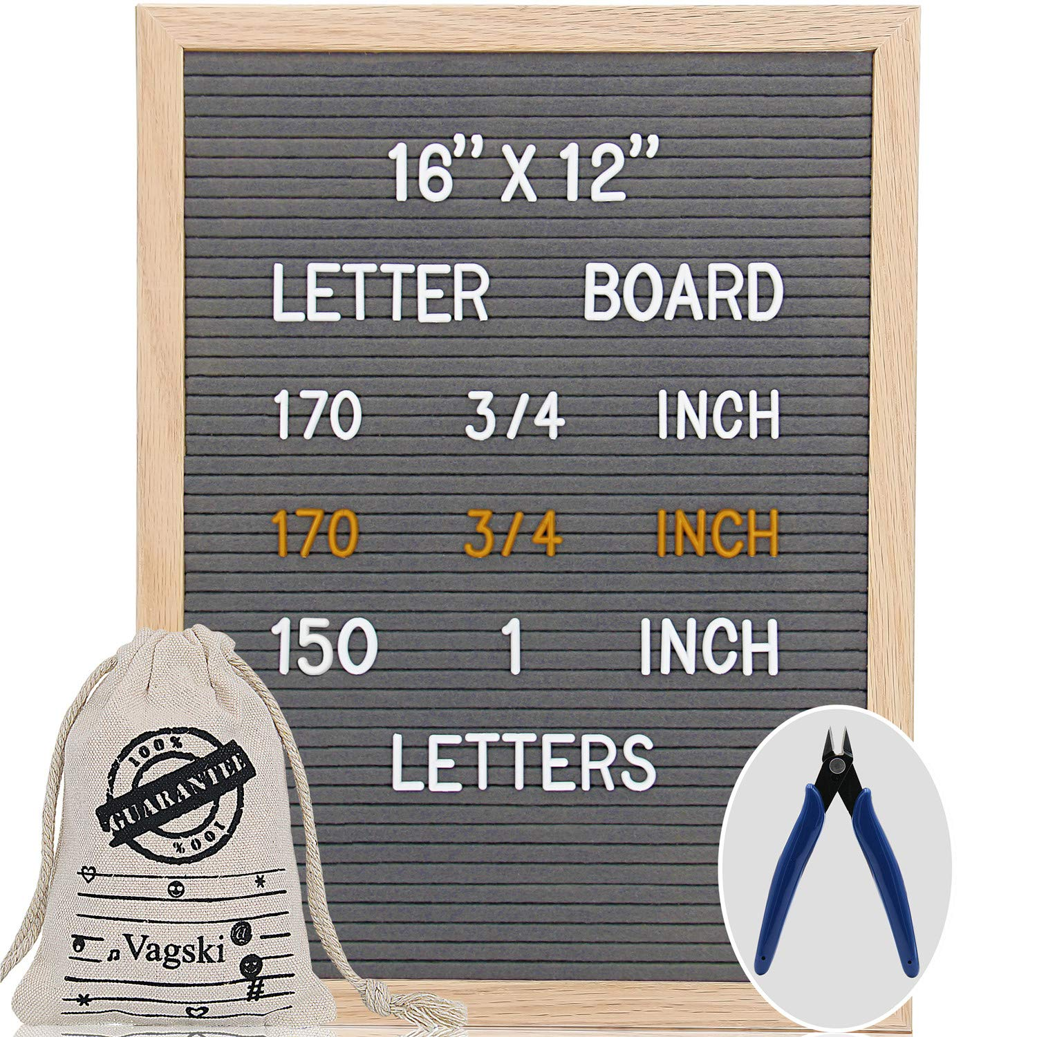 Letter Board - 12'' x 18'' Black Felt Letter Board with 470 Letters, Changeable Letter Board Oak Wood Frame with Mounting Hook and Canvas Bag VAG054 Vagski