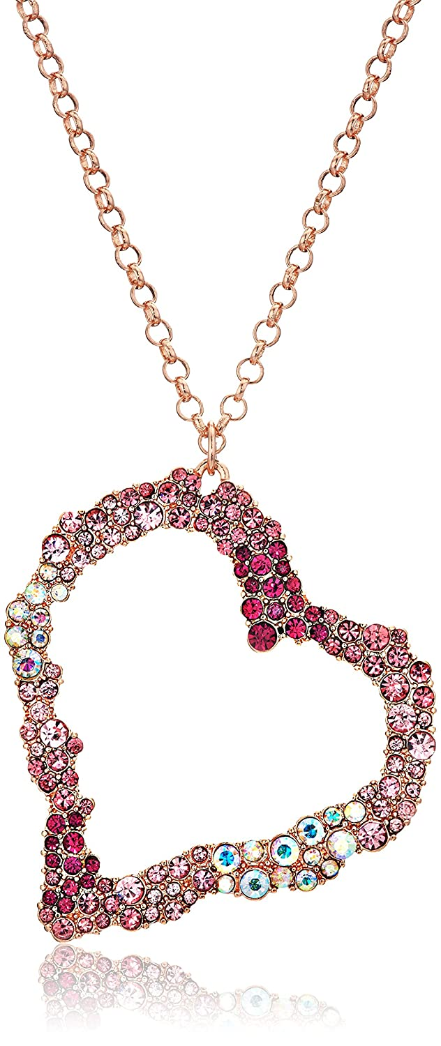 Betsey Johnson Womens Pink And Rose Gold Long Heart Pendant Necklace by Betsey+Johnson