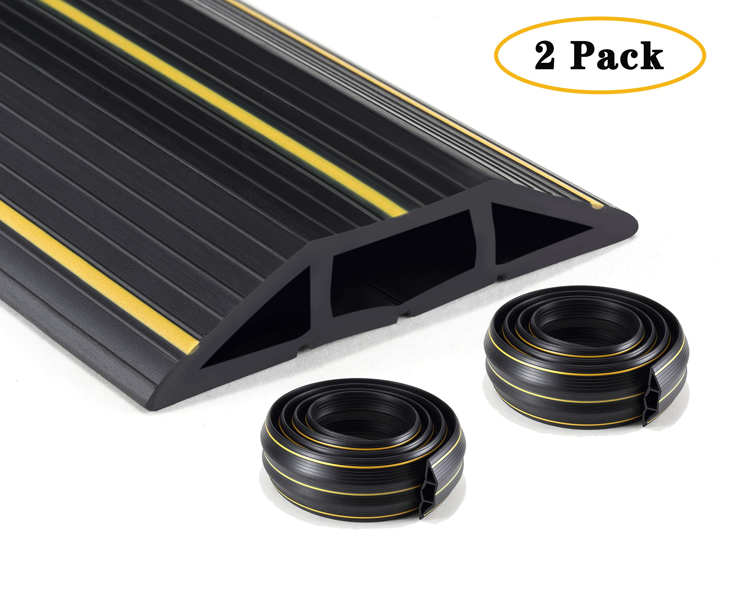 2 Pack overfloorCord/Cable Protector - 3 Cord Channels, Fastening Wire Organizer - Easy to Install (Total 20 ft, Black)