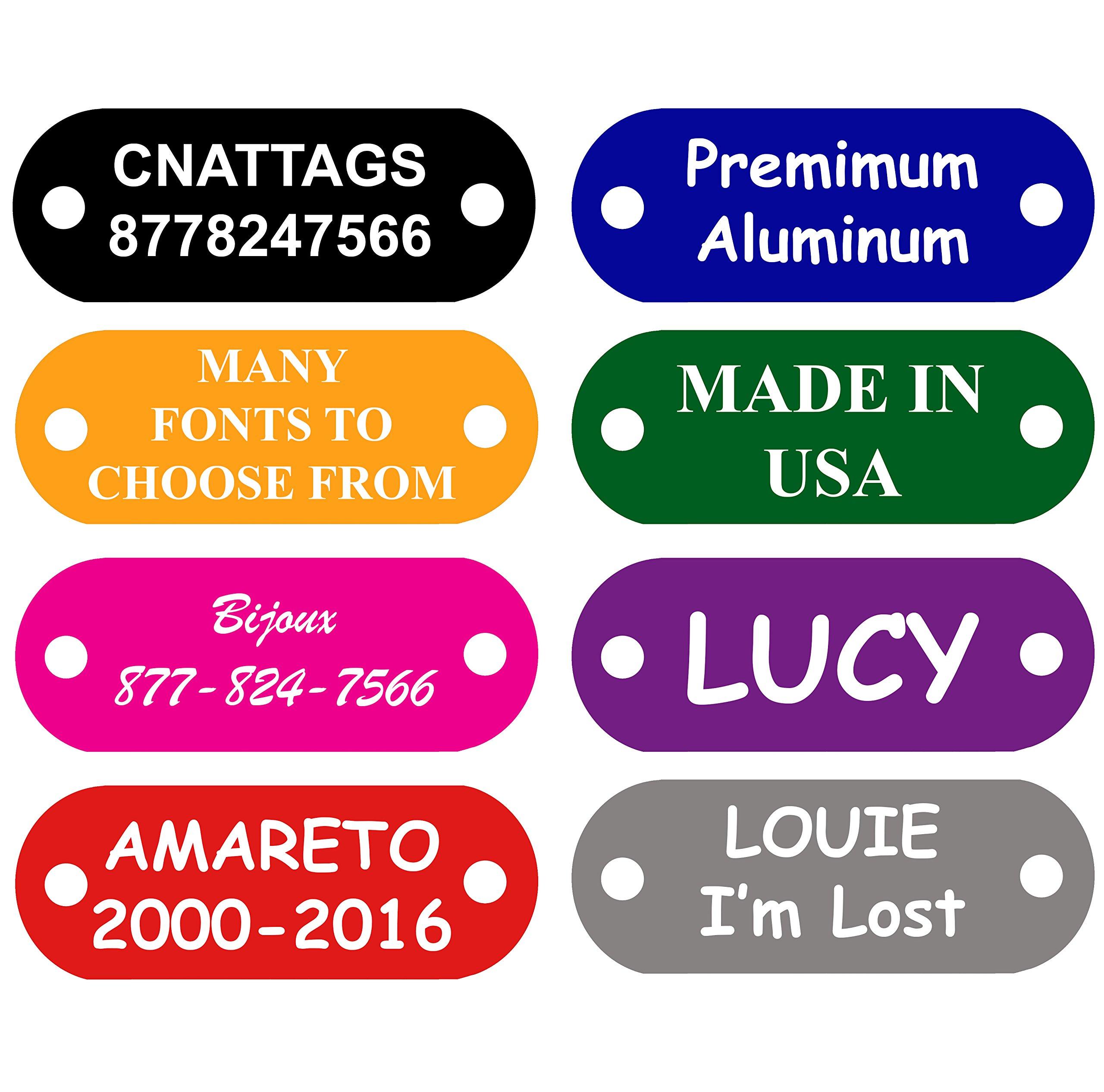CNATTAGS Pet ID Tags Rivet Shape, 8 Colors, Personalized Premium Aluminum (RIVETS NOT INCLUDED) (Black)