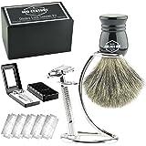 Safety Razor Shaving Kit: Double Edge Razor, Pure Badger Brush, Heavy Chrome Stand with Travel Case; Complete Wet Shave Gift Set