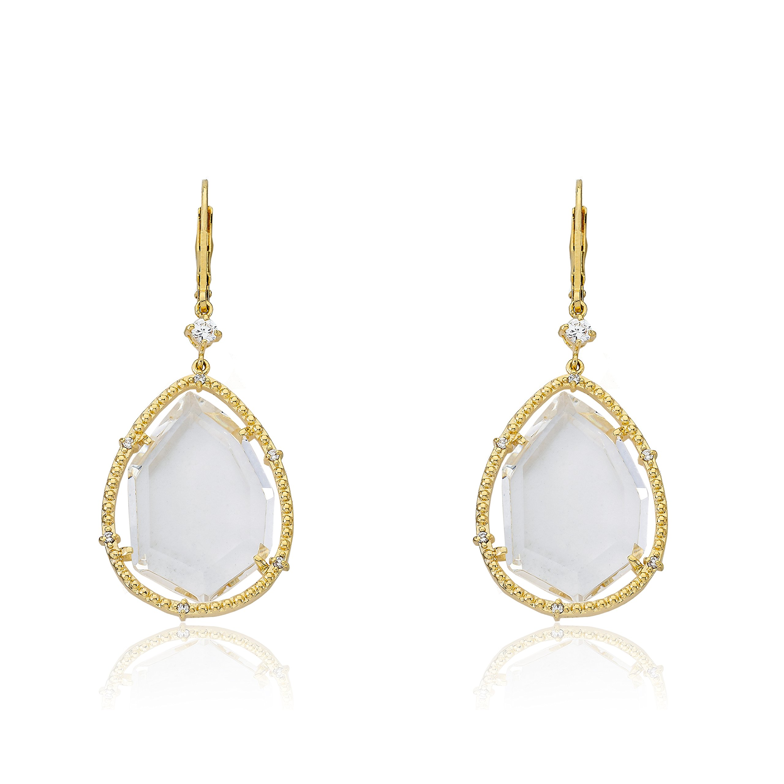 Riccova Sliced Glass 14k Gold-Plated CZ Trimmed Clear Sliced Glass Teardrop Dangle Earring