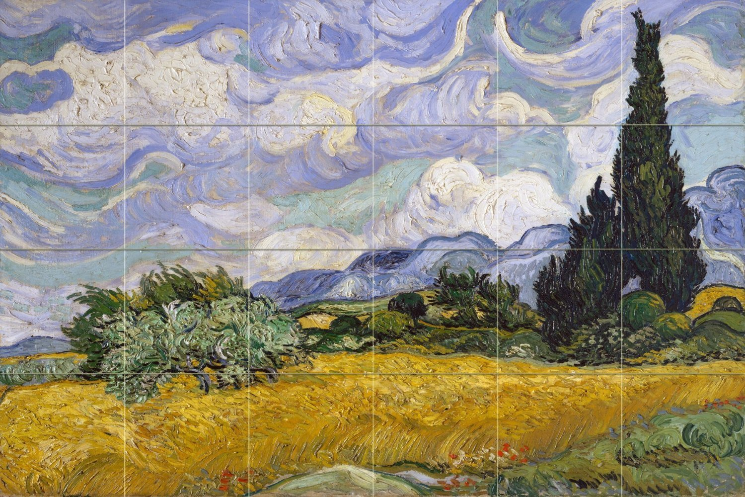 Wheat Field with Cypresses by Vincent van Gogh Tile Mural Kitchen Bathroom Wall Backsplash Behind Stove Range Sink Splashback 6x4 4.25'' Ceramic, Glossy by FlekmanArt