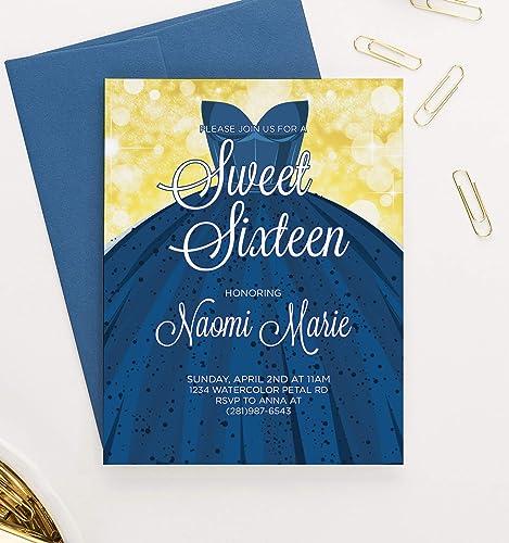 amazon com blue sweet 16 invitations