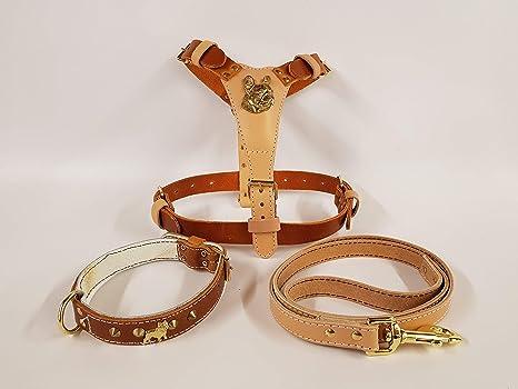 Italian Leather Arnés de Piel para Perro con diseño de Cabeza de ...