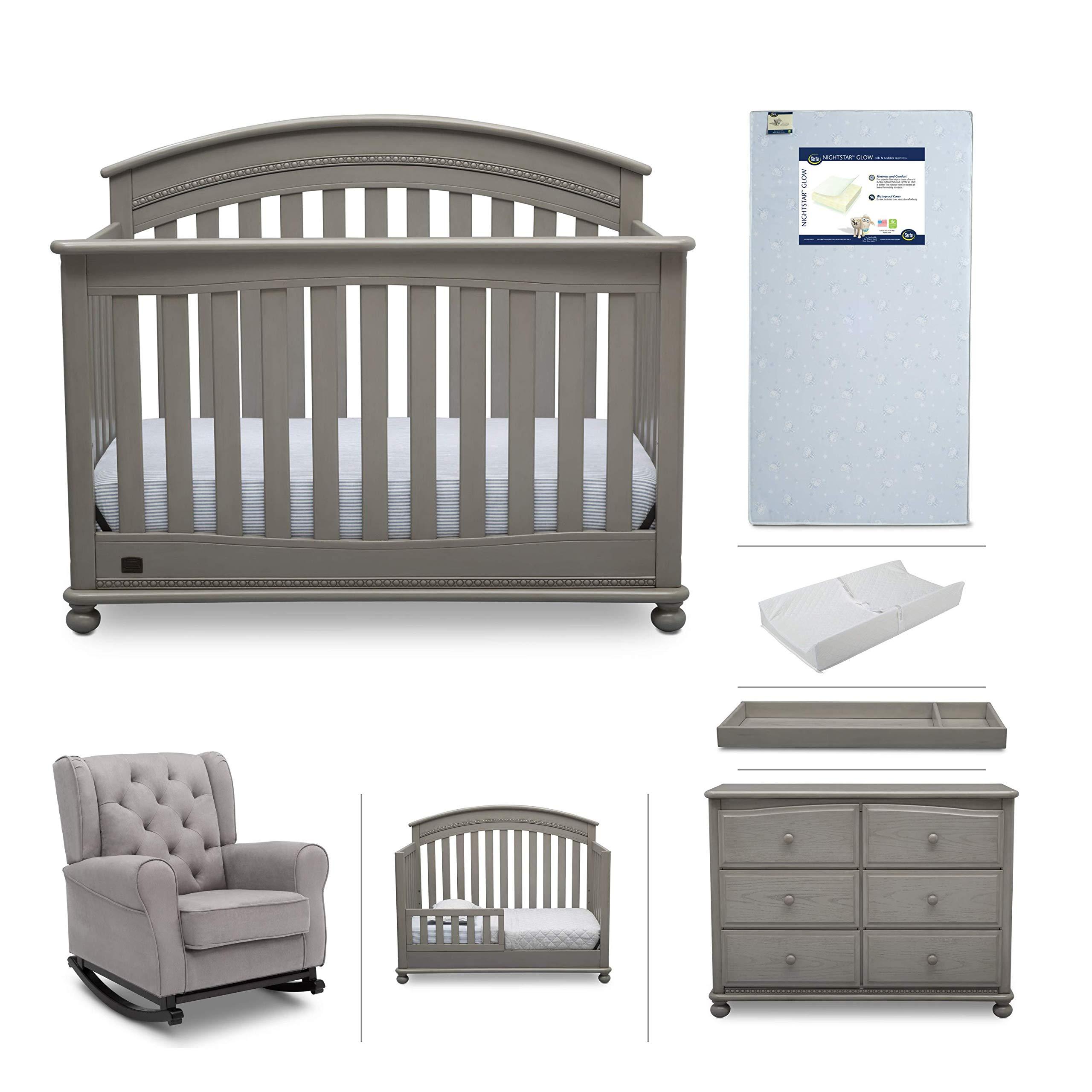 Baby Furniture Set - 7-Piece Simmons Kids Nursery, Aden | Convertible Crib, Dresser, Rocking Chair, Crib Mattress, Toddler Rail, Changing Top, Changing Pad, Grey/Storm Grey by Delta Children