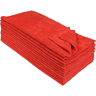Eurow Microfiber Ultrasonic Cut Cleaning Towels 14 x 14in 300 GSM Red 12-Pack: Automotive