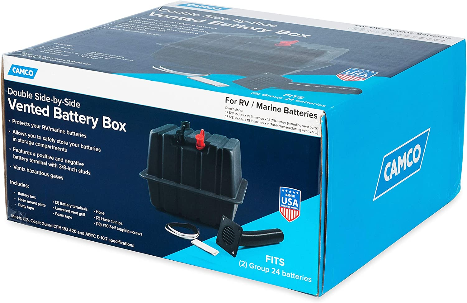 Protects Your RV or Marine Battery from Collisions and Contaminants Double Side-by-Side Group 24 Batteries Camco 55370 Vented RV//Marine Battery Box 2 Holds