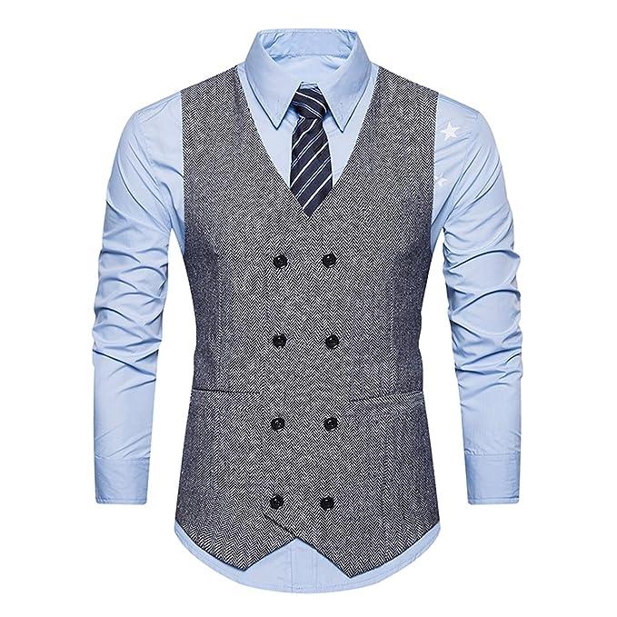 Ycheng Hombre Sin Mangas Clásico Chaleco Vestir De Boda Casual Moda Waistcoat