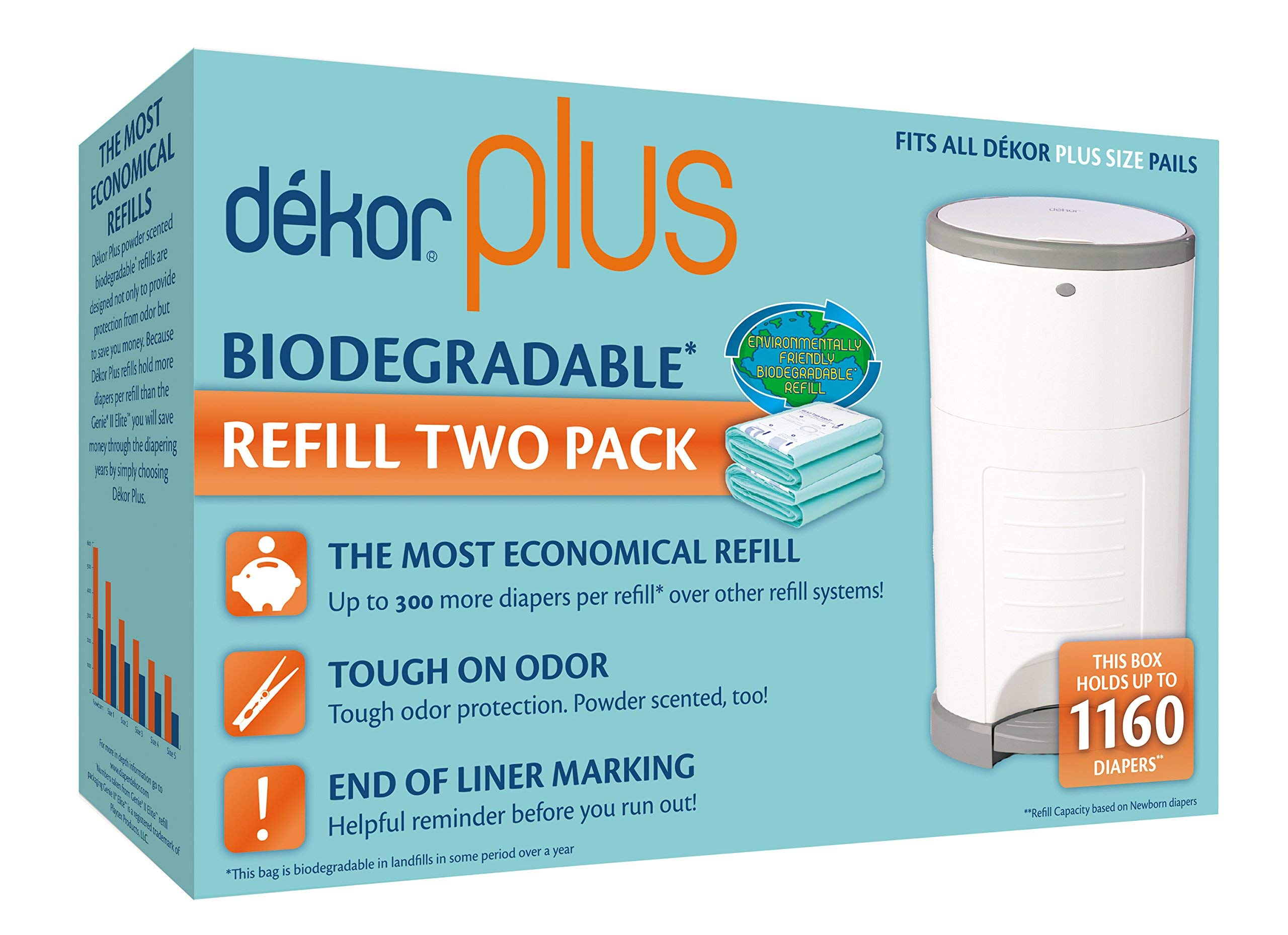 Dekor Plus Diaper Pail Biodegradable Refills | 2 Count | Most Economical Refill System | Quick and Simple to Replace…