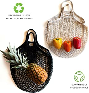Sugarberry Reusable Grocery Bags - 100% Cotton Net, Short Handle, Foldable, Storage Organizer, Laundry Bag, Market Tote, Beach Bag, Toy Mesh Bag, Fruit Vegetable, Pack of 2 (Black, Natural)