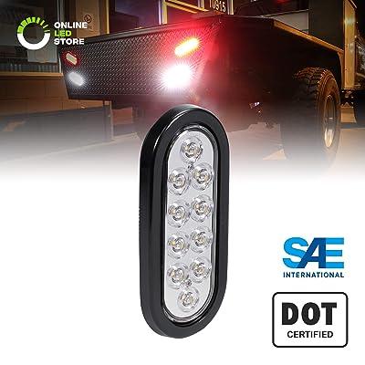 "6"" White Oval LED Reverse Trailer Tail Light [DOT FMVSS 108] [SAE (2) R] [Grommet & Plug Included] [IP67 Waterproof] [Back Up Signal] Trailer Lights for Boat Trailer RV Trucks: Automotive"