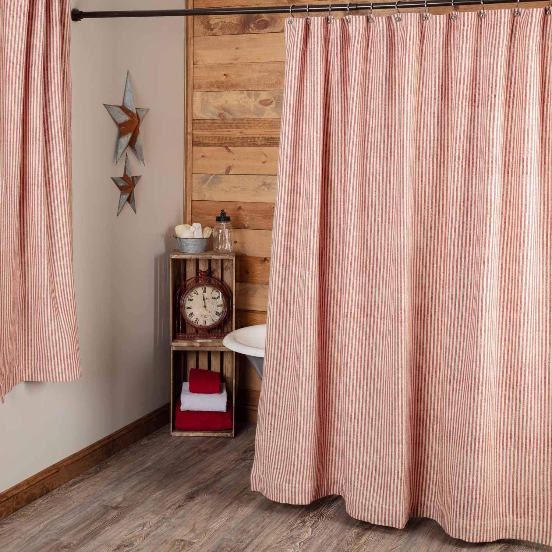 Amazon Com Homespun Red Ticking Shower Curtain 72 X 72 Natural Barn Red Farmhouse Primitive Bathroom Decor Kitchen Dining