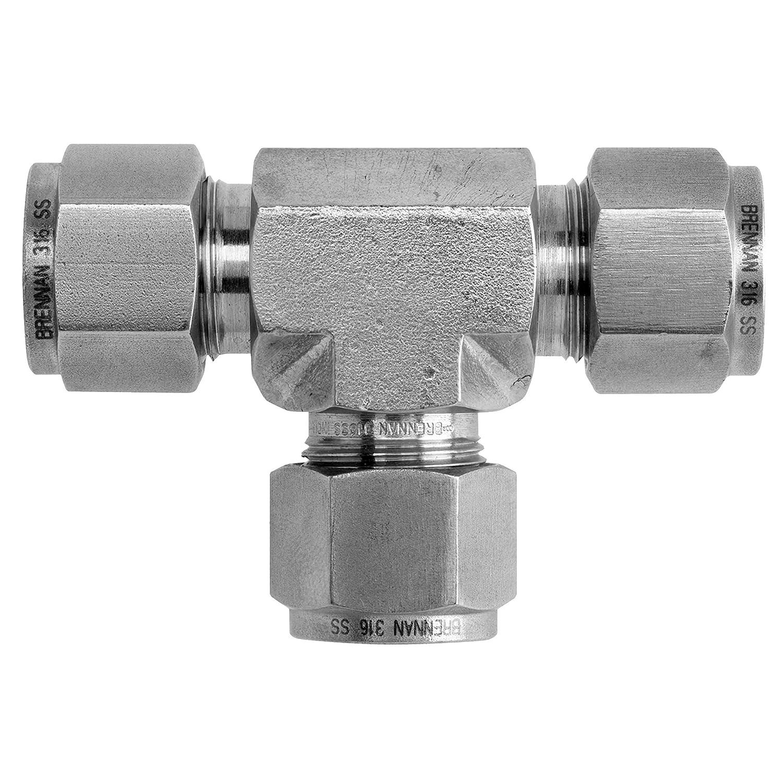 Brennan Industries N2603-06-04-06-SS Stainless Steel Tee Double-Ferrule Tube Fitting 3//8 Tube x 1//4 Tube x 3//8 Tube Pack of 5
