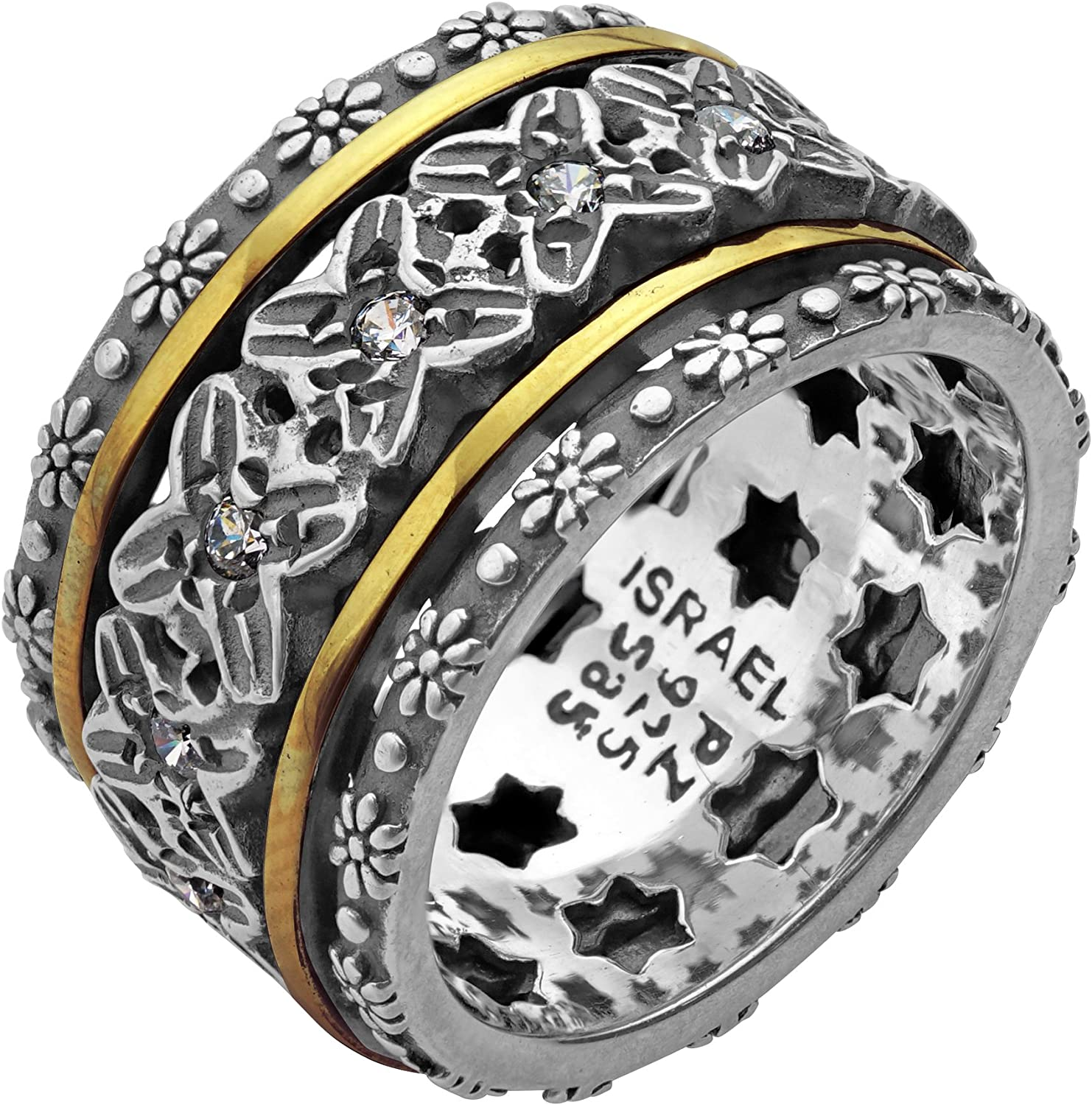 PZ 925 Sterling Silver and 14K Yellow Gold Crystal Spinner Ring