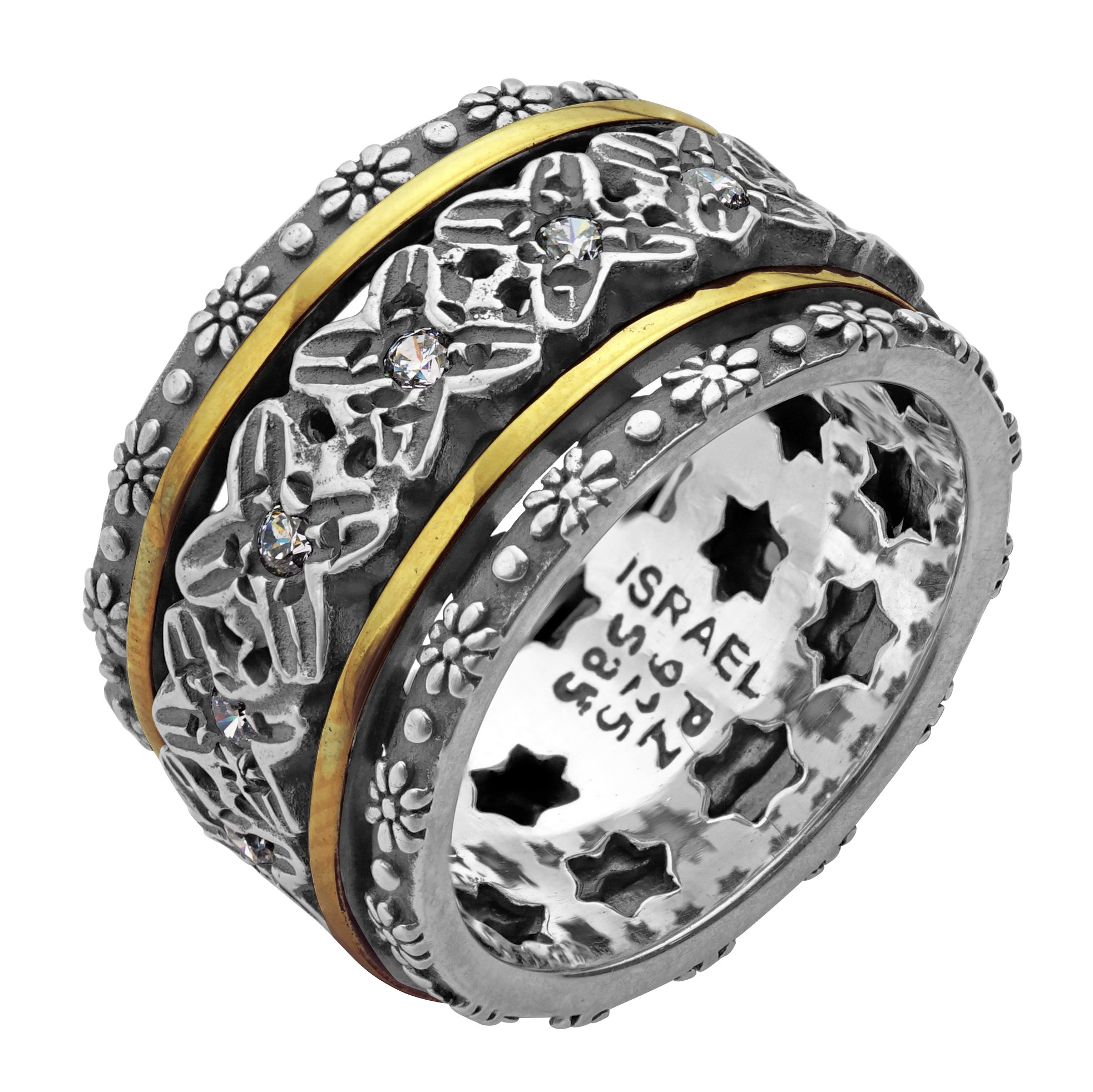 Paz Creations .925 Sterling Silver and 14K Yellow Gold Spinner Ring (8), Made in Israel
