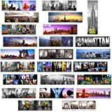 24 Various Collectible NYC New York Panoramic Photo Wide Magnets NYC 5x1.6 inch - Pack of 24