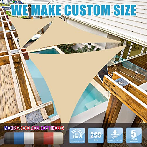 Amgo 16 x 16 x 16 Beige Triangle Sun Shade Sail Canopy Awning, 95 UV Blockage Water Air Permeable, Commercial Residential, for Patio Yard Pergola, 5 Yrs Warranty Available for Custom Sizes