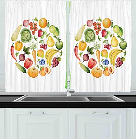 Fruit And Vegetable Window Treatments For Kitchen Curtains 2 Panels 55x39 Inches Home Garden Rateshop Window Treatments Hardware