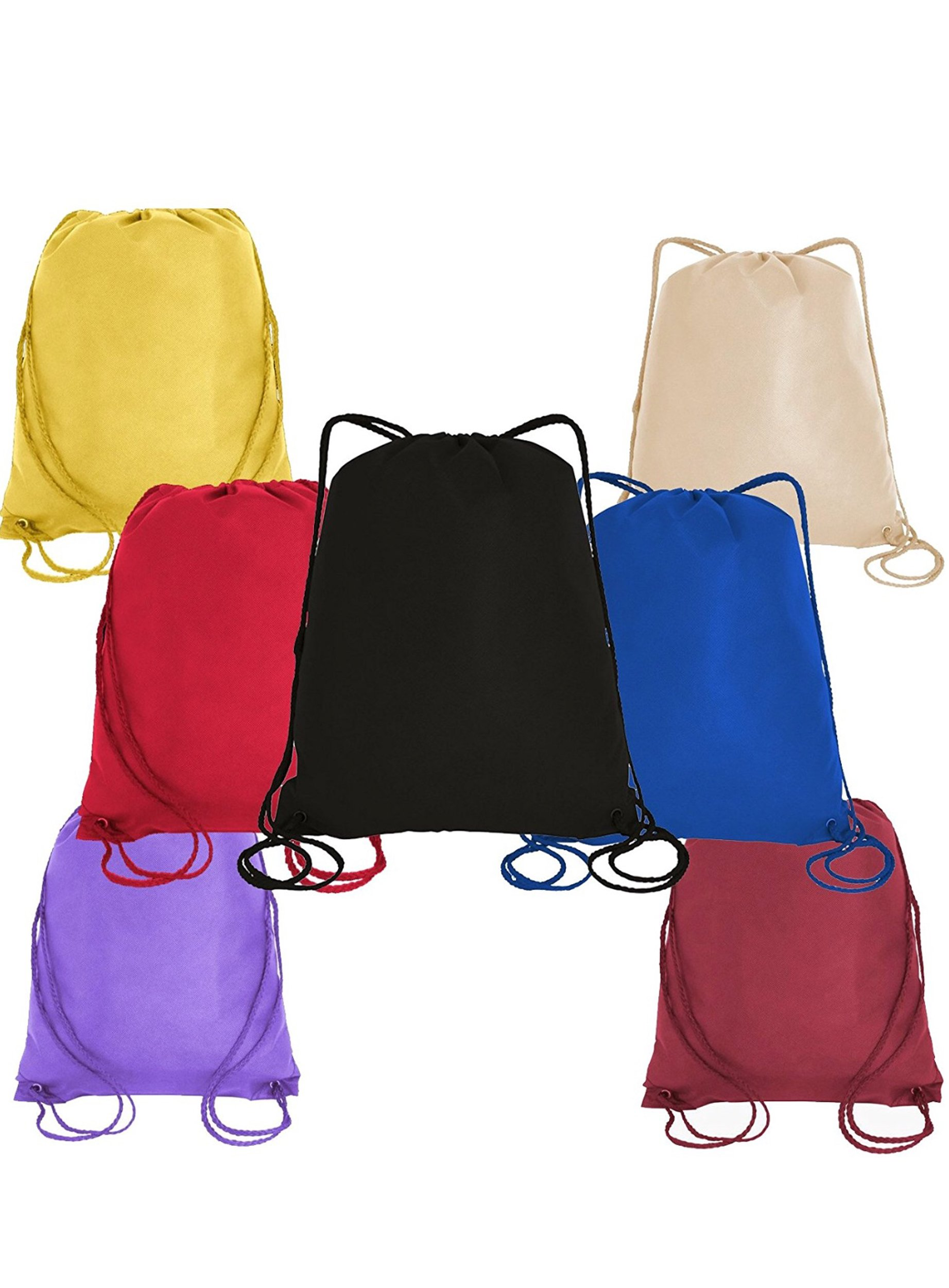 50 PACK - Economical Non Woven Well Made Drawstring Backpack Bags Bulk - Giveaway Church, School, Event, Trade show bags Charity Cheap Donation Wholesale Drawstring Backpacks Sack Packs (Mix-Assorted)