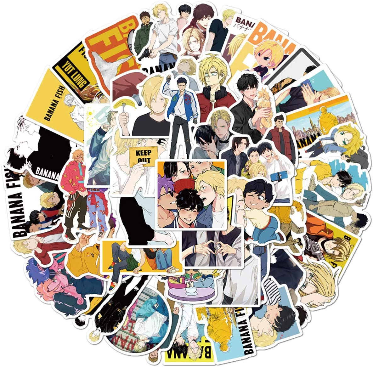 Banana Fish Stickers, 50pcs, Japanese Anime Movie Decals, for Laptop, Water Bottle, Car, Skateboard, as Gift and Decoration, Waterproof. Banana Fish