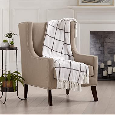 Home Fashion Designs Orleans Collection Ultra Velvet Plush Super Soft Blanket. Lightweight, Warm, Printed Window Pane Throw Blanket with Decorative Fringe Brand. (White/Grey)