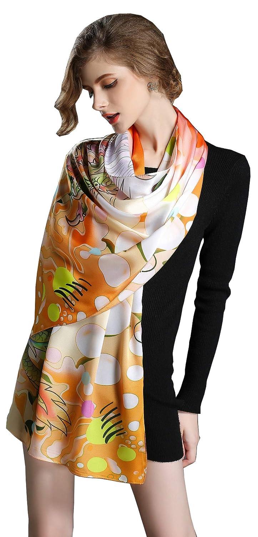 C5p Spring Air Women's 100% Charmeuse Silk Fashion Scarf, Long Shawl Wrap£¦Headscarf
