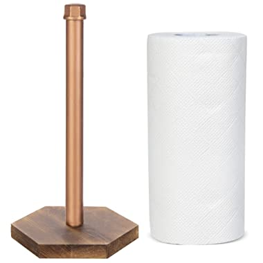 MyGift Industrial Copper-Tone Pipe & Burnt Wood Countertop Paper Towel Holder
