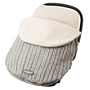 JJ Cole - Knit Bundleme Set, Blanket Cover to Protect Baby from Cold Weather with Car Seats and Strollers, Graphite, Birth to 1 Year