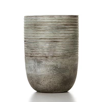 """Hosley 7.5"""" Ceramic Mid Century Modern Grey Design Planter. Ideal Gift for Weddings Contemporary Decor Party Spa PTOO O3 : Garden & Outdoor"""