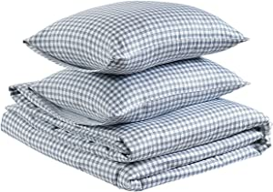AmazonBasics Organic Sateen Cotton Duvet Comforter Cover Set, King, White Check