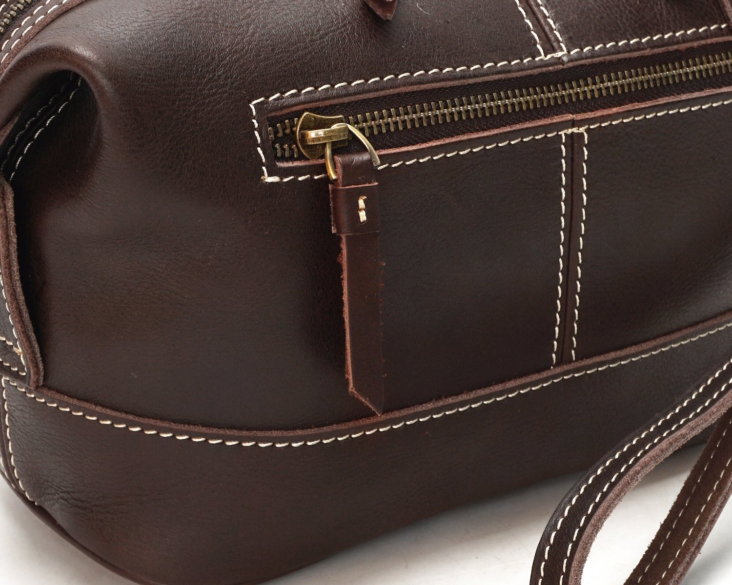 Color : Brown, Size : S Shengjuanfeng Mens Clutch Bag Oil Glossy Leather Fashion Bag Zipper Multifunction Pouch Leather