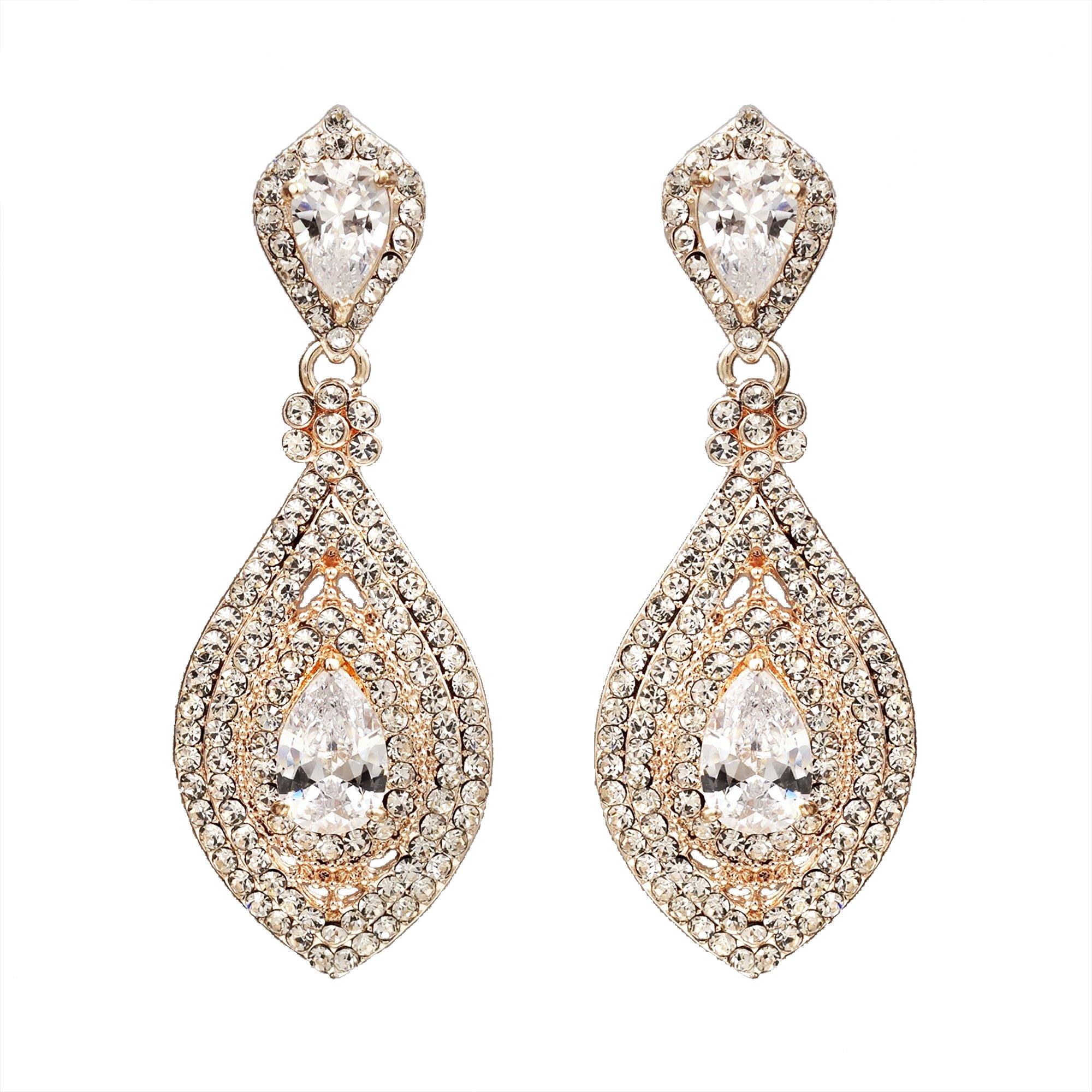 Iris Island Clear Austrian Crystal Rhinestone Zirconia Bridal Drop Dangle Earrings for Wedding,Rose Gold