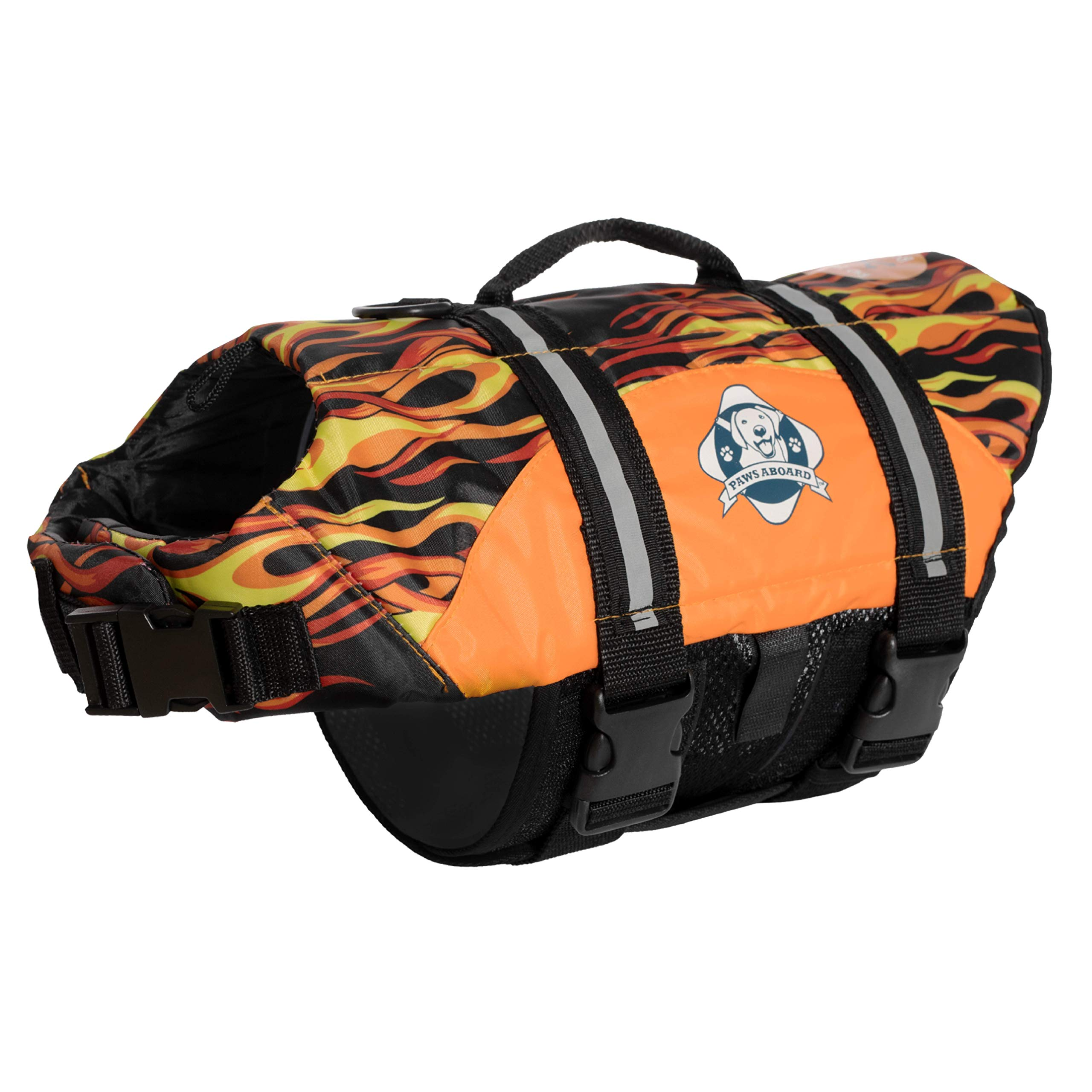 Fido Pet Products Paws Aboard Doggy Life Jacket, Large, Racing Flames
