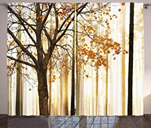 Ambesonne Curtains for Living Room by, Fall Trees Woodsy Country Theme Home Decor Dining Room Bedroom Curtains 2 Panels for Kids Room Window Treatments, 108 x 84 Inches Wide, Yellow Brown