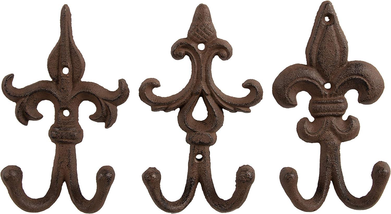 Shabby Chic Ornate–Gancho de hierro clásico montado en la pared gancho para abrigo, sombrero, bufanda–Juego de 3