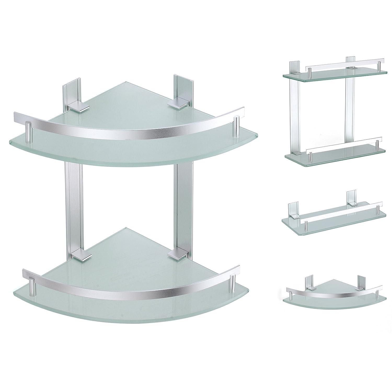 msv bad regal tabarca eckregal duschregal aus aluminium und glas kleben und bohren amazonde kche haushalt - Eckregal Dusche Glas