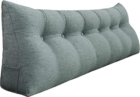 WOWMAX Rectangular Headboard Reading Body Pillow Bedside Oversized Throw Cushion Extra Large Backrest Lumbar Pillows Positioning Back Support Bolster for Bed Sofa Couch Velvet Grey Twin