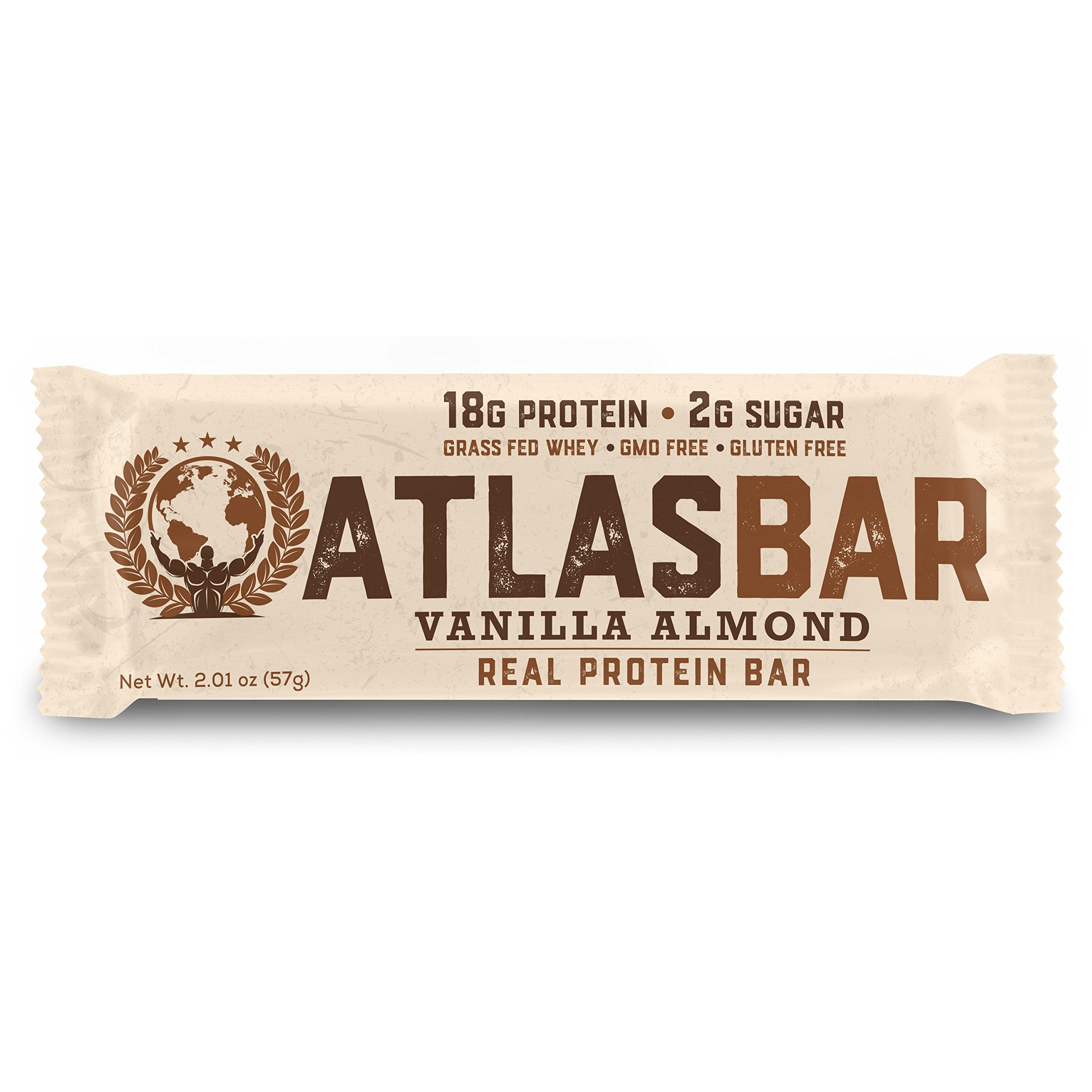 Atlas Bar - Keto/Paleo/Low Carb/All Natural Protein Bar, Vanilla Almond, 2.01 Ounce (12-Pack) — Grass Fed Whey, Low Sugar, All Natural, Gluten Free, Soy Free, and GMO Free