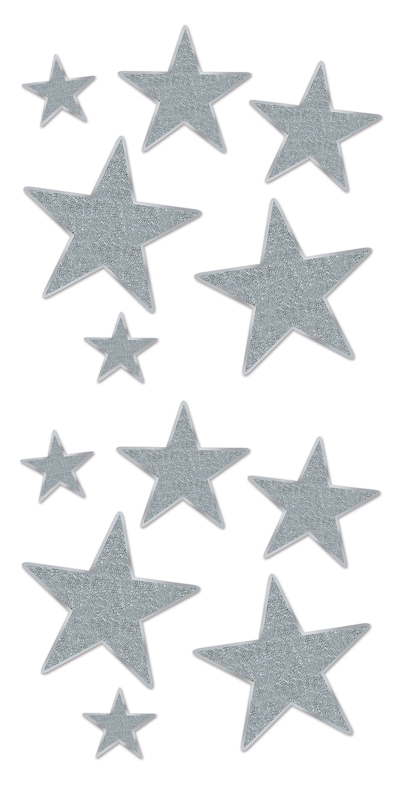 Beistle 57857-S 12 Pieces Assorted Glittered Foil Star Cutouts, Silver by Beistle